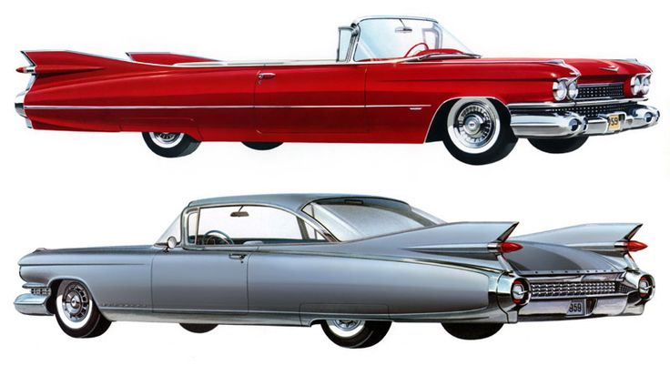 1959 Cadillac Series 62 convertible and Eldorado Seville - Plan59 :: Classic Car Art :: Vintage Ads :: 1959 Cadillac