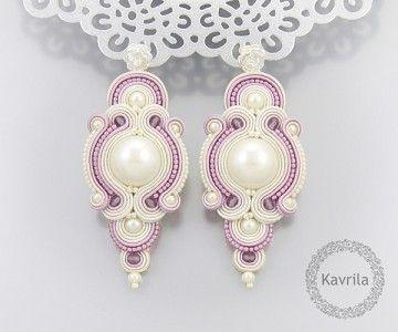 wedding earrings soutache exlucive rose