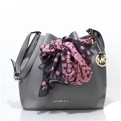 Michael Kors Jules Scarf Leather Small Grey Shoulder Bags