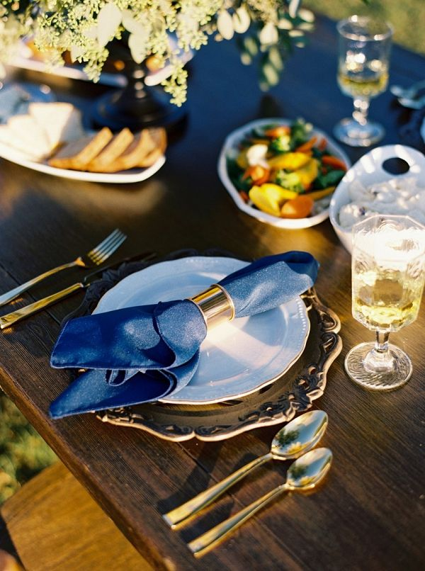 Blue and gold place setting on Chic Vintage Brides