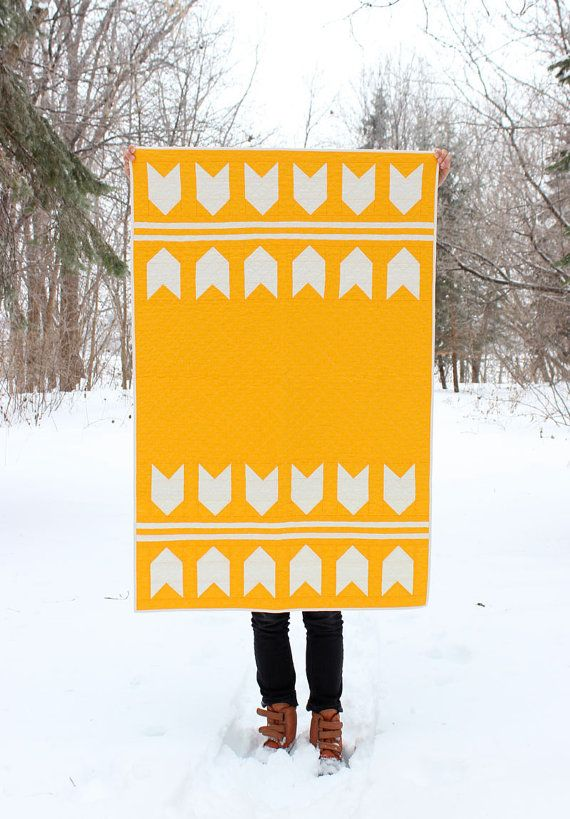 Unisex Baby Quilt / Toddler Quilt - Orange and White by Melissa Hevey