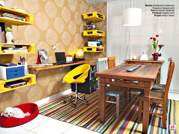 Decora.me - Sala de Jantar e Home Office home office junto à sala de jantar