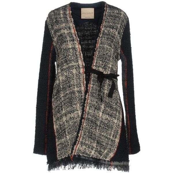Erika Cavallini Cardigan (14.875 RUB) ❤ liked on Polyvore featuring tops, cardigans, dark blue, colorful tops, v neck cardigan, colorful cardigan, long sleeve cardigan and multi color cardigan