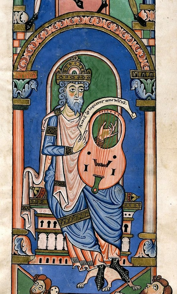 David playing a harp. Bible (the 'Worms Bible'), Psalms-Acts 16:17, imperfect. Germany, Central (Middle Rhineland); 3rd quarter of the 12th century.