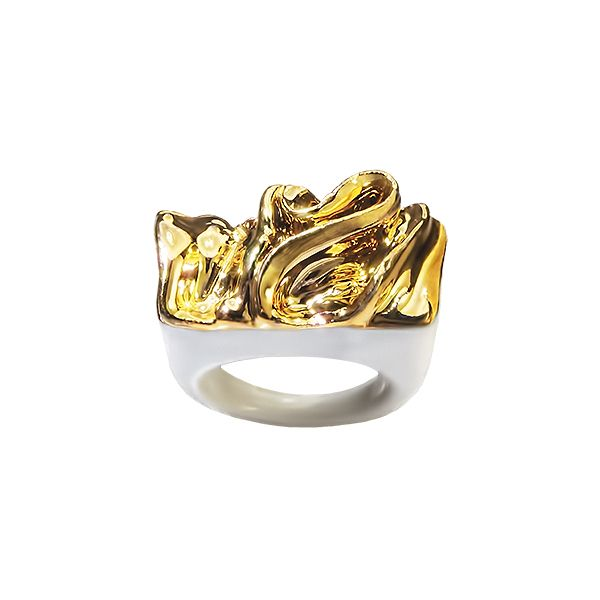 "Spring edition of rings ""When"" is about chaos and chance, about a struggle that we fight with ourselves. That is our vision and also a description of the manufacturing of the rings. Rings are created on the basis of play with the material and consequently decorated with platinum and gold."