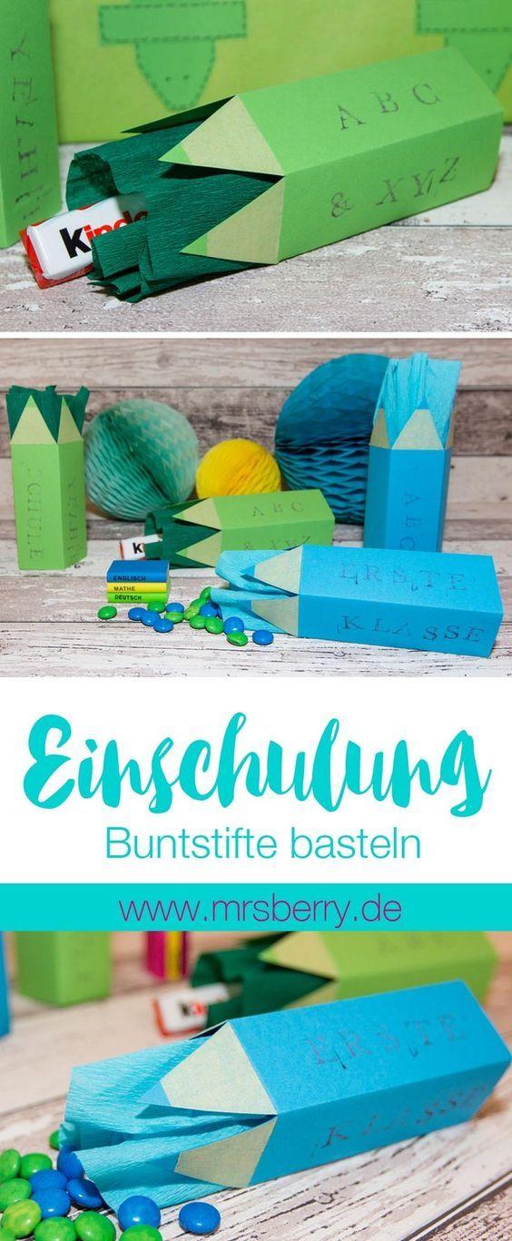MrsBerry.de DIY   Buntstifte als Verpackung zur Einschulung (Schulanfang) basteln.