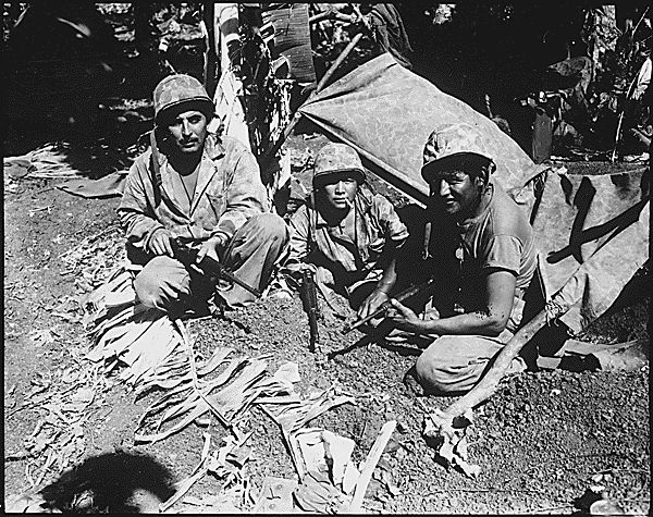 The Battle of Saipan began on June 15, 1944. Navajo codetalkers such as these played a crucial role in directing naval artillery during the 24 day battle.