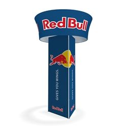 """10'x42"""" Makitso Blimp Triangular Tower with Blimp Tube Tapered. Built-on a banner frame system made from a lightweight extruded aluminum frames wrapped in a vibrant dye-sublimation graphic print.#Tradeshow#Tower#display#Custom#booth #exhibit#ideas"""