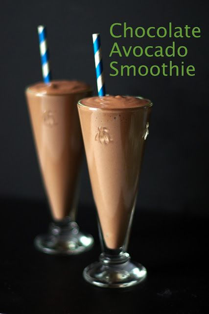 Chocolate Avocado Smoothie: Blend 1 med avocado, 1 heaping tbsp cocoa, 1-1/2 cups milk, 1/2 tsp vanilla, 1 tbsp honey (optional) & 1 cup frozen strawberries. Makes 2. gm John 3:16