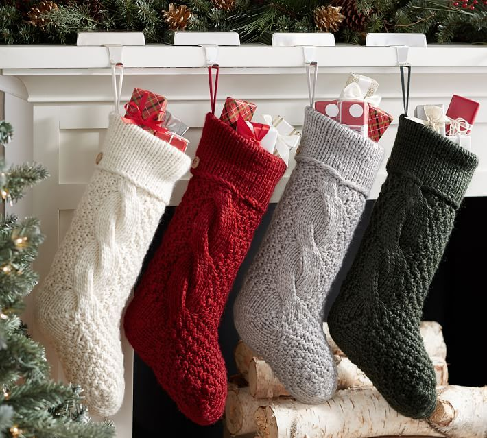 Personalized Chunky Knit Stockings Knitted Christmas Decorations Cottage Christmas Knitted Christmas Stockings