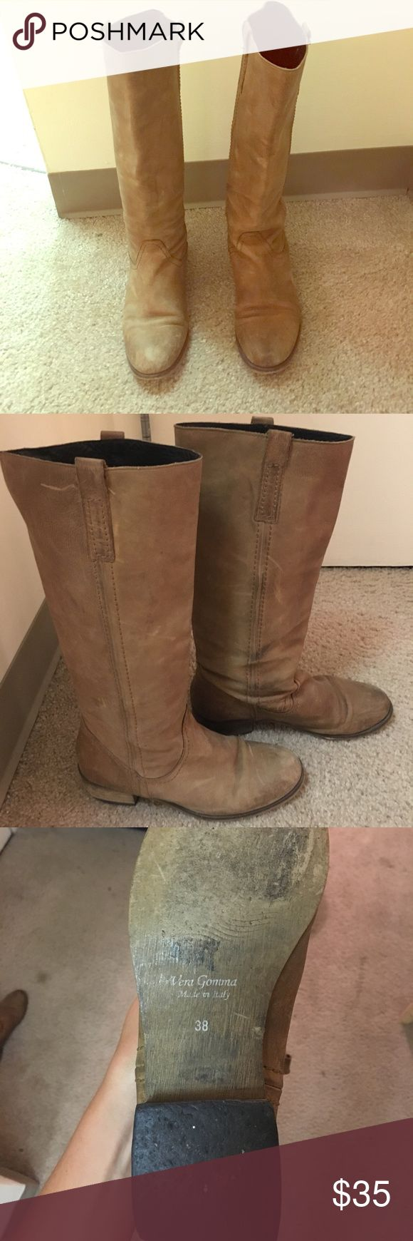 Tall Italian made tan leather boots Bought these in Italy two years ago, have signs of having been worn. Needs replacement of sole on one of the shoes. High quality leather. Purchase price highly discounted!! Shoes Winter & Rain Boots