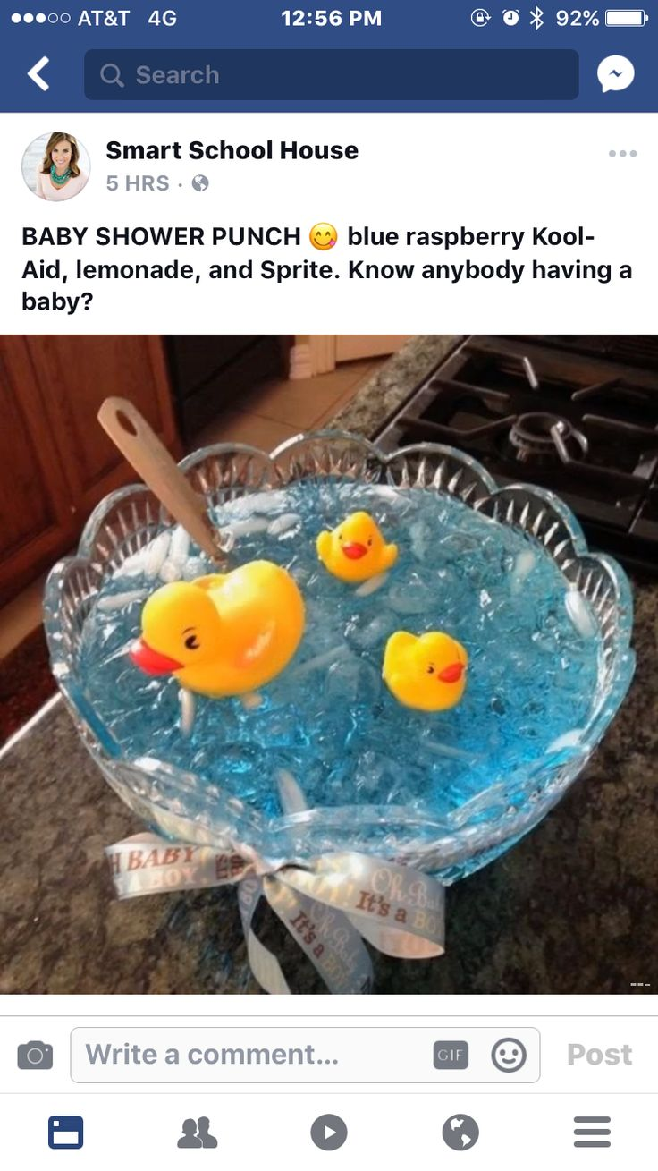 Here's an idea for if you plan to have punch at a baby shower, more likely for a boy. Just 3 ingredients! And the ducks are added for cuteness.