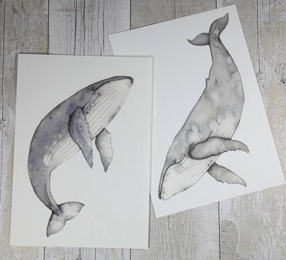 Humpback whale watercolour paintings  whale art от DaniWilliamsArt