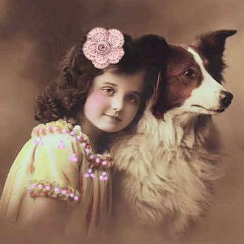 Sweet vintage girl with her dog