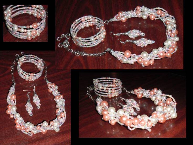 pink & white pearls necklace, earrings & bracelet!