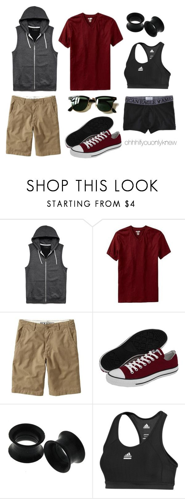 """Untitled #224"" by ohhhifyouonlyknew ❤ liked on Polyvore featuring 21 Men, Old Navy, Ray-Ban, Converse, adidas and American Eagle Outfitters"