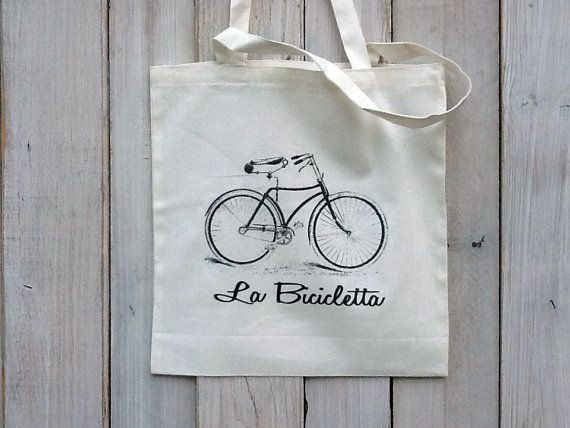 Eco-Friendly Vintage Bicycle Print IN BLACK Reusable Canvas Tote Bag