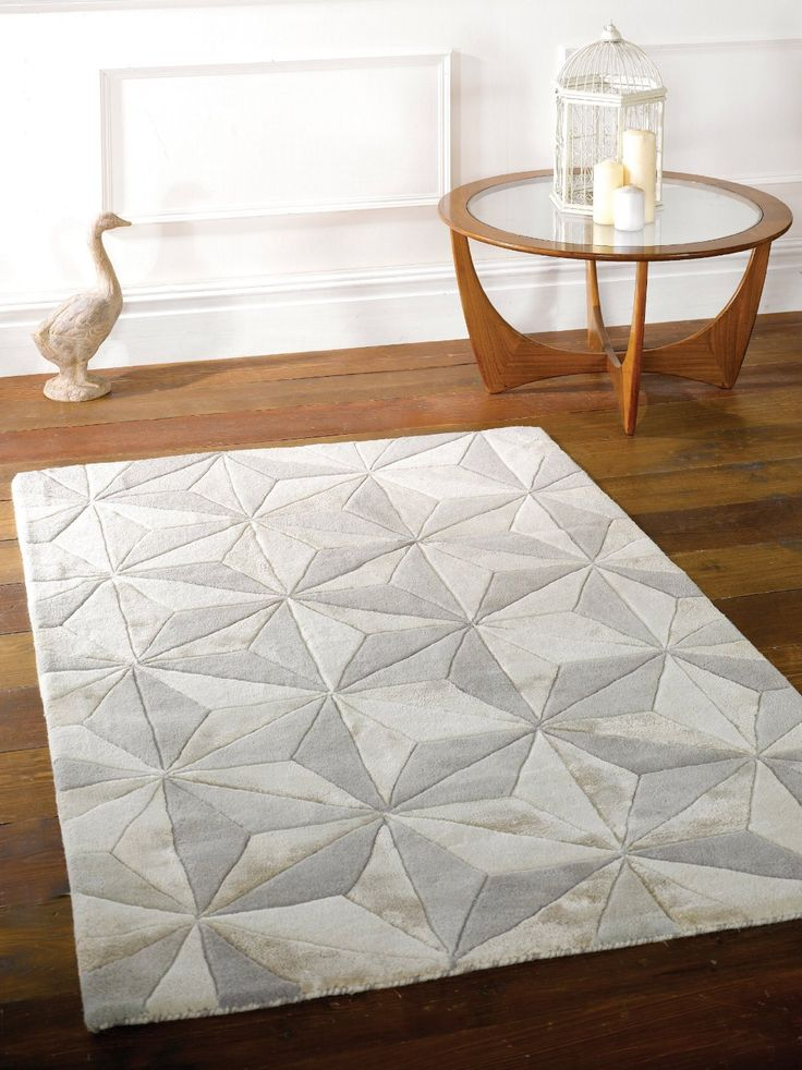 Large Handmade Thick Luxurious Soft Wool Geometry Design Grey Ivory Rug in 120 x 180 cm (4' x 6') Carpet: Amazon.co.uk: Kitchen & Home