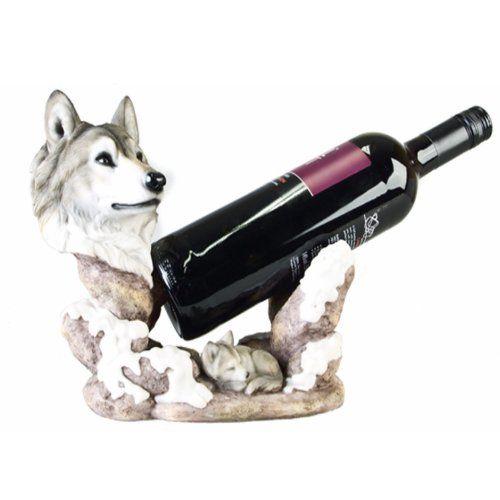 weinflaschenhalter wolf deko figur w lfe k che haushalt wolf merchandise. Black Bedroom Furniture Sets. Home Design Ideas