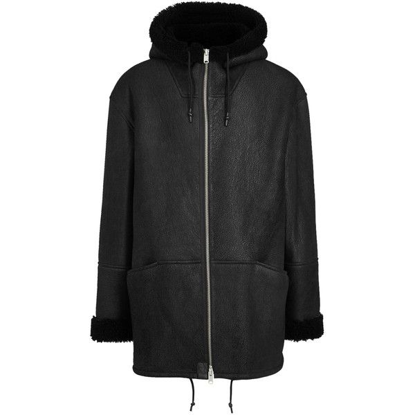 YEEZY SEASON 3 Black hooded shearling jacket ($1,845) ❤ liked on Polyvore featuring men's fashion, men's clothing, men's outerwear, men's jackets, mens zip up jackets and mens shearling jacket