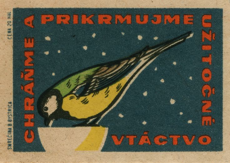 czechoslovakian matchbox label #vintage #graphic #illustration #bird