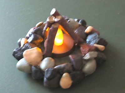 "4"", Campfire, Tea light, battery opperated candle, camping decor, RV, Boyscouts  $9.73 ebay"