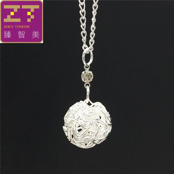 2016 Hot fashion Sliver Hollow Steel wire ball crystal Pendants Necklace statement necklaces Woman jewelry Gift