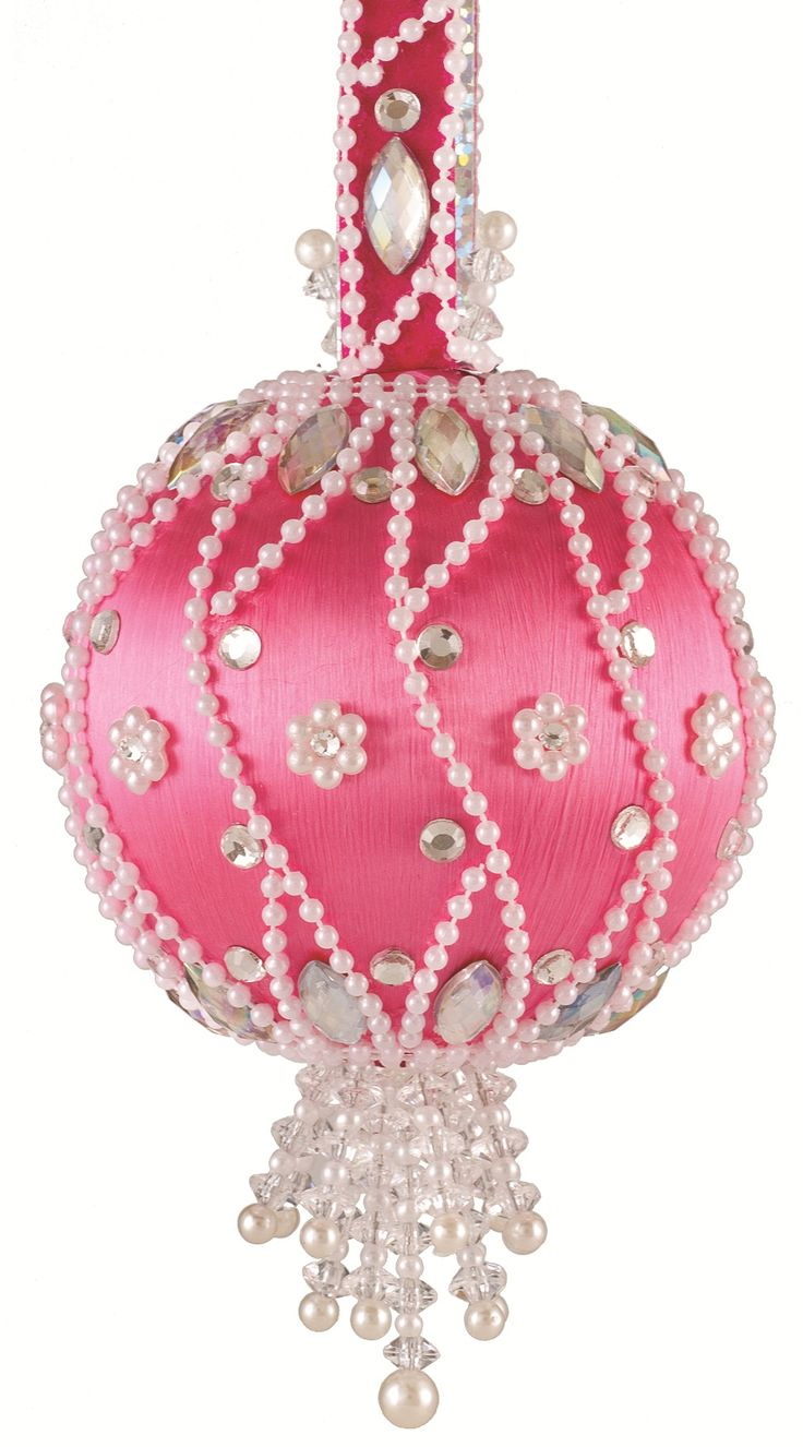 Hot pink christmas decorations - The Cracker Box Christmas Ornament Kit Moonlit Pearls Hot Pink Ball W Crystal