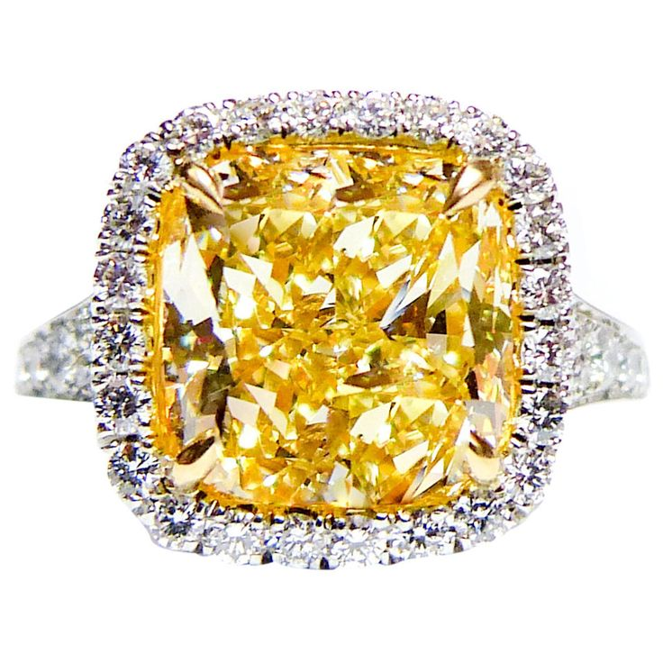 Well, color me happy!!!!! 5.04 Carat Canary Yellow Diamond Platinum Ring   From a unique collection of vintage engagement rings at https://www.1stdibs.com