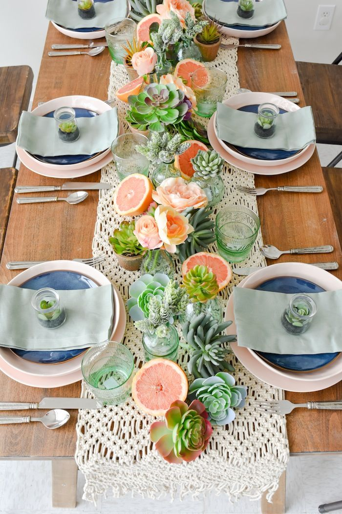 Mother S Day Boho Citrus Tablescape Kara S Party Ideas Brunch Table Setting Brunch Table Table Decorations