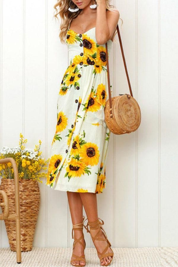 368520c7ef96 Sheinstreet Spring and Summer Spaghetti Strap Floral Printed Sleeveless  Maxi Dresses