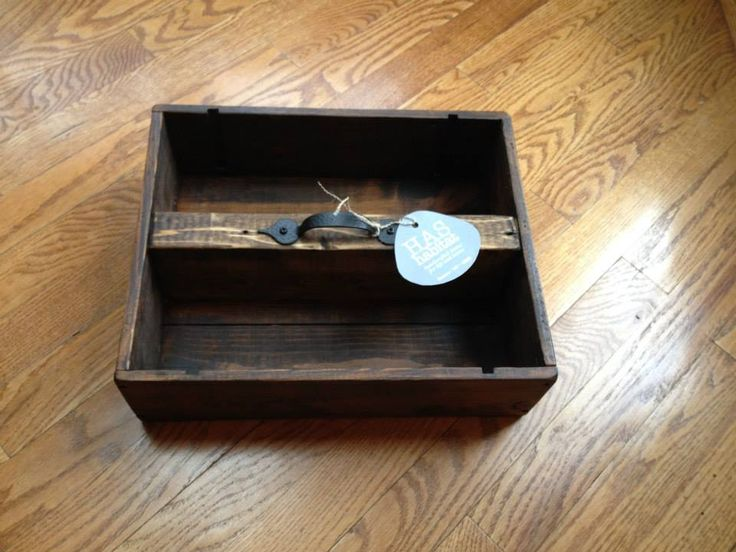 I love wine boxes! My husband is always on the look-out for them, for me. To this small box I added apiece of 2′ x 4′ (glued and nailed), stained all in dark walnut, added a protective clear coat...