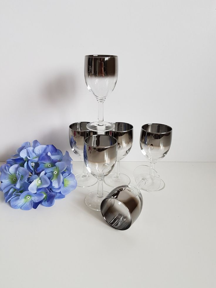 Vintage Silver Fade Wine glasses Set of 6, Vitreon Queen's Lustreware, Mercury Fade, Ombre by RetroEnvy21 on Etsy
