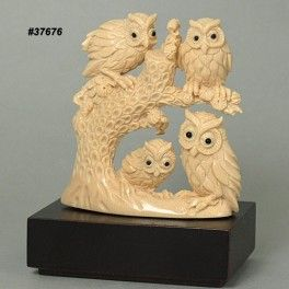 Mammoth Ivory Handcrafted Owl Family On Tree Carving 37676 by tide-mammoth.com
