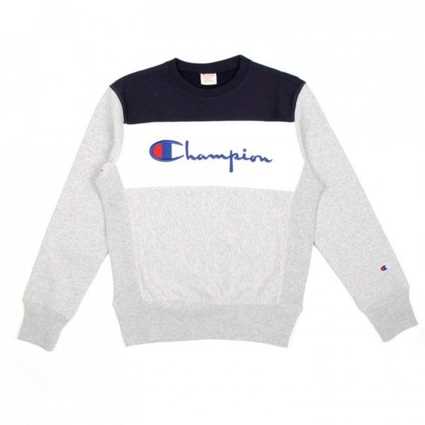 Champion Crewneck Sweatshirt (Grey, White & Navy) (1.590 ARS) ❤ liked on Polyvore featuring men's fashion, men's clothing, men's hoodies, men's sweatshirts, mens crew neck sweatshirts, mens crewneck sweatshirts, mens grey crew neck sweatshirt and mens grey sweatshirt