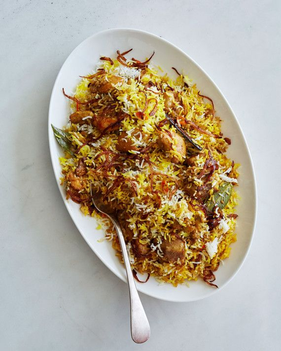 It's the spices that really set this aromatic chicken-and-rice dish apart. We're talking cloves, peppercorns, cardamom, cumin, coriander, mace, saffron, turmeric, cinnamon, and more.