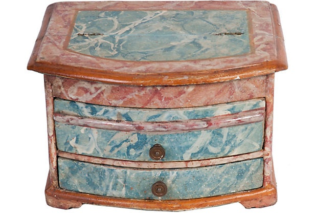 Painted wood jewelry box