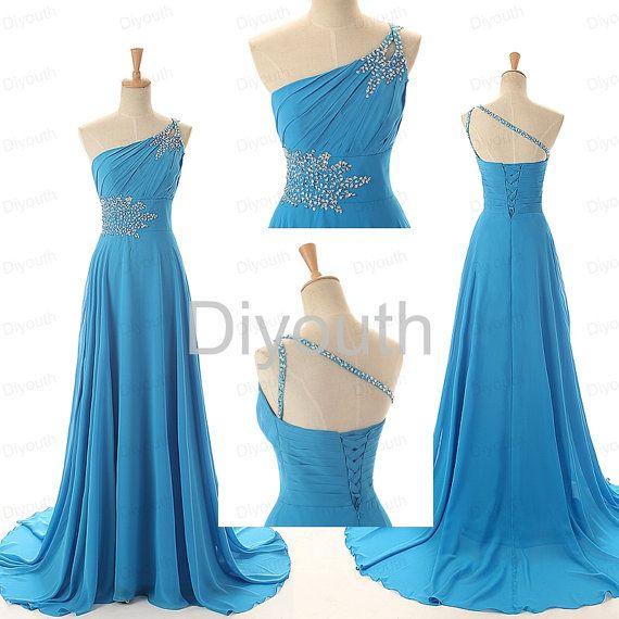 Oneshoulder Blue Prom Dress Under 200  Long Prom Dress  by Diyouth, $119.99