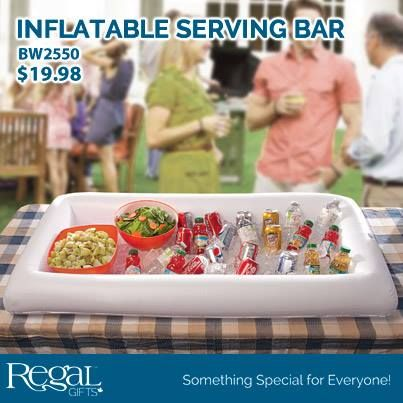 "INFLATABLE SERVING BAR Simply inflate the border and you have a large, deep waterproof container that can be filled with ice to keep beverages and food cold for hours - ideal for parties and BBQs. Can be used indoors or outdoors. Made of durable vinyl. 54-1/2""L x 26-3/4""W x 5-1/2""H"