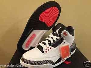 Men's Size 9 NIKE AIR JORDAN 3 RETRO White / Cement Grey Infrared 23 136064  123