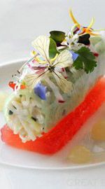 Crab and watermelon - Simon Hulstone - A beautiful dish to present with edible flowers.