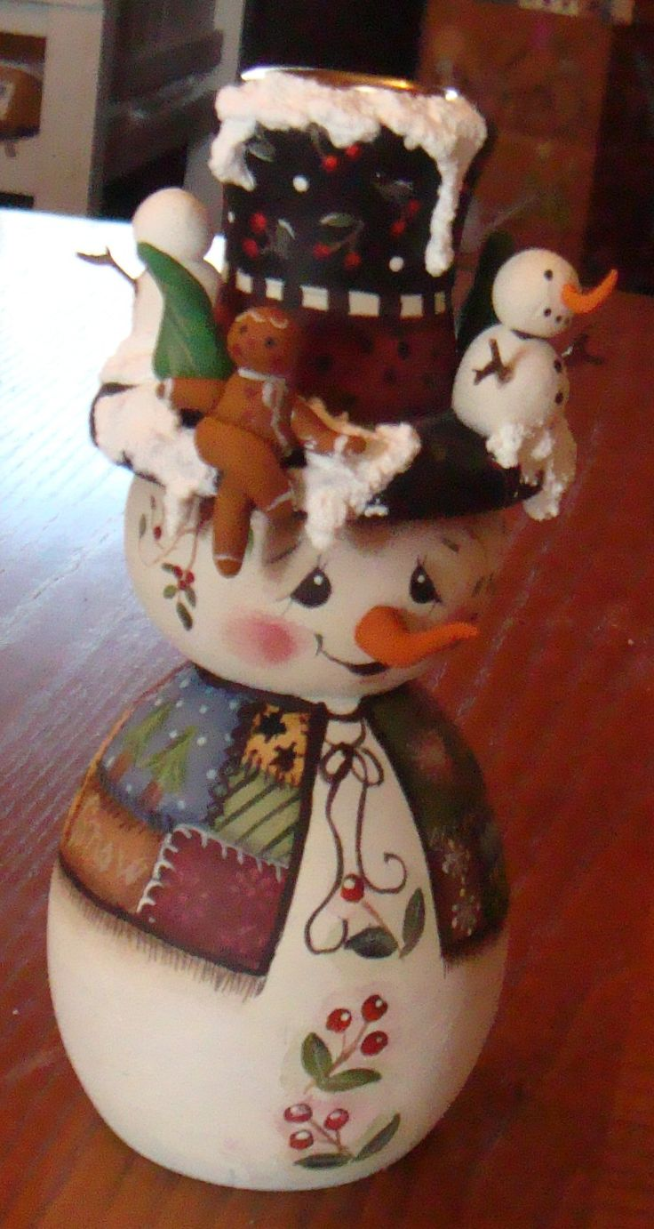 Hand painted snowman candlestick with a wooden body. His nose is made of Sculpy as well as the gingerbread boy, the snowmen on the hat, and the trees.
