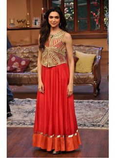Deepika Padukone Orange Anarkali In Comedy Nights With Kapil