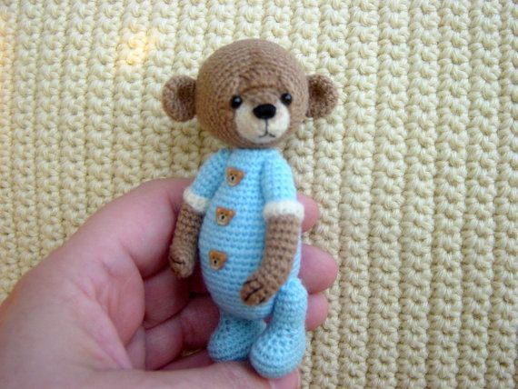 Artist Thread Crochet Teddy Bear miniature by CrochetTeddyBears