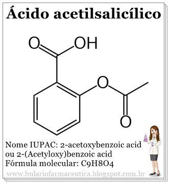ÁCIDO ACETILSALICÍLICO (Aspirina, AAS)  Referência: Aspirina (Bayer) Similares: AAS (Sanofi-Aventis), Alidor (Sanofi-Aventis), Bufferin (Novartis), CAAS (EMS), Cardio AAS ( Sigma Farma), Melhoral (HYPM), Somalgin (Sigma Pharma).  Ações terapêuticas: Analgésico, anti-inflamatório, antipirético.  Propriedades: Seus efeitos analgésicos, antipiréticos e anti-inflamatórios são devidos às associações das porções acetil e salicilato da molécula intacta, como também a ação do metabólito ativo sa