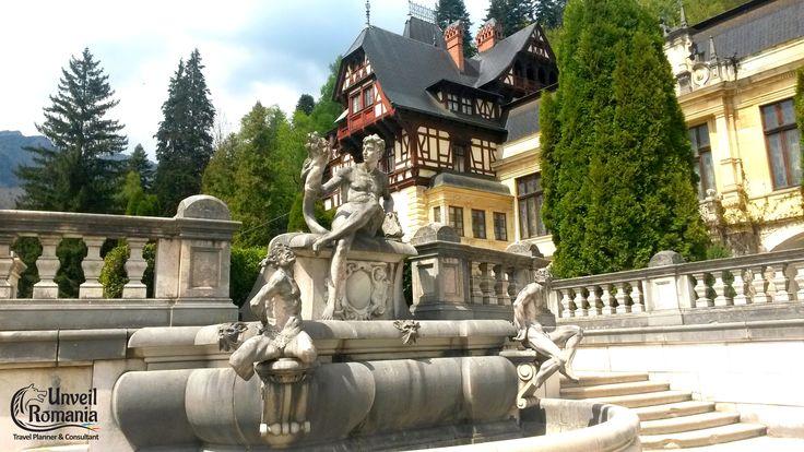 Intricate outdoor fountains in front of the Palace Castle #traveltoRomania #Romaniatourism #Castle #Sinaia #Peles #unveilromania
