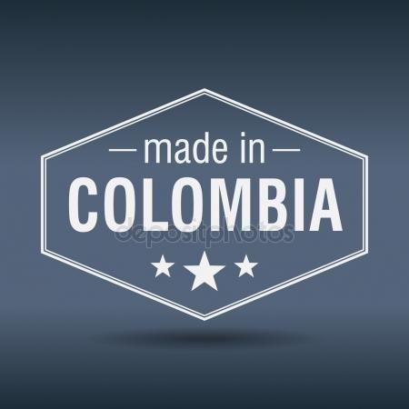 Hecho en Colombia. Etiqueta vintage blanca hexagonal. Made in Colombia Gráficos Vectoriales