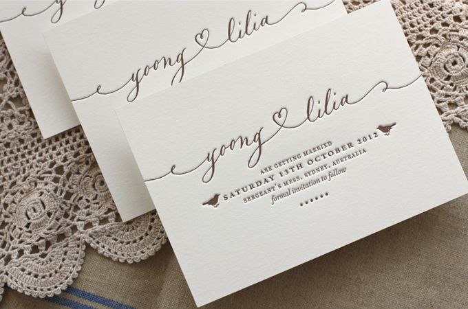 Bespoke Letterpress custom design, calligraphy and letterpress printed 1 colour wedding save the date card