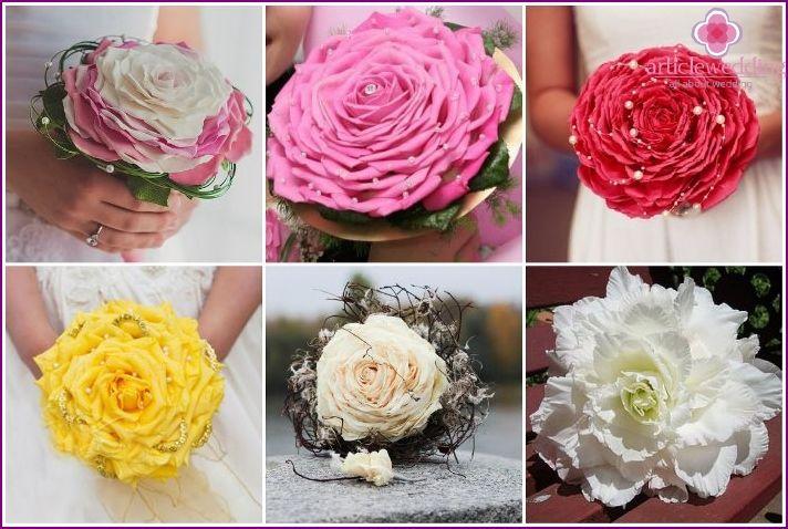 Originálne svadobné kytice - poradenstvo pri voľbe, nezvyčajné vzory, materiály a formy, fotky