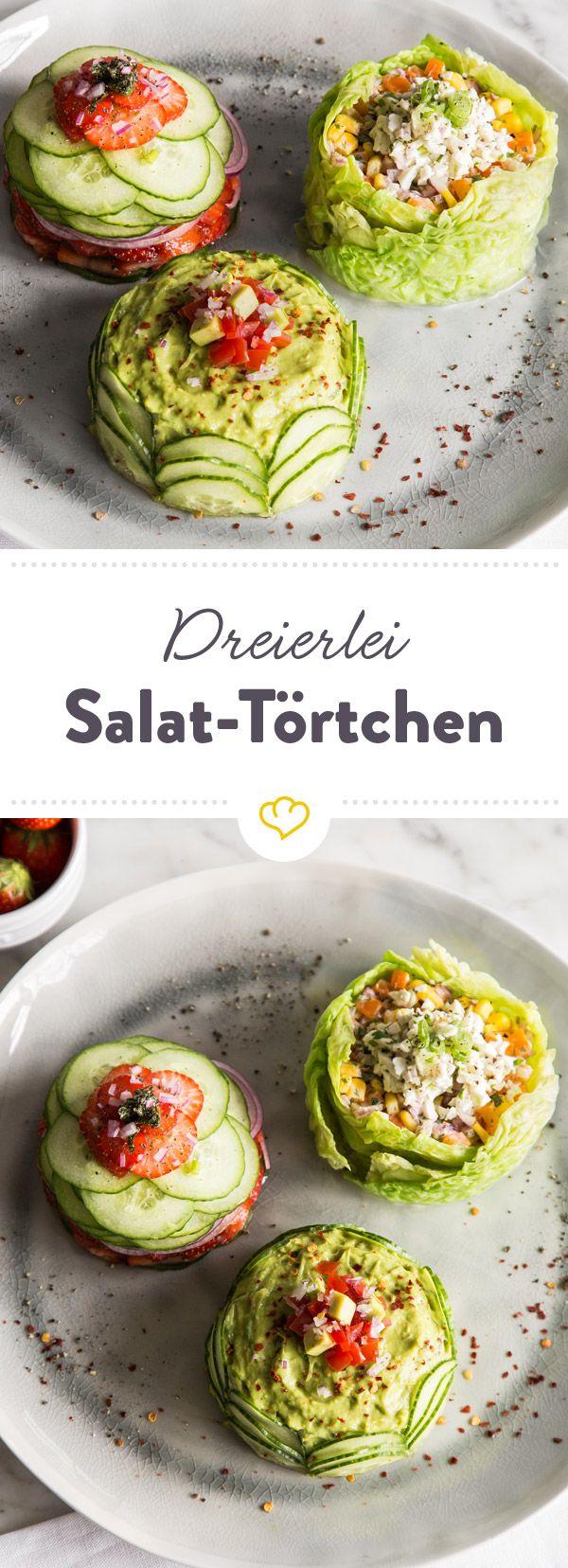 Mini Salat-Törtchen in drei Variationen